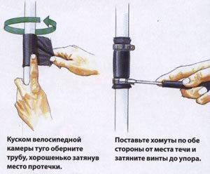 Как замазать водопроводную трубу?